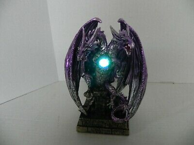 New Two Headed Purple Dragon Statue Fantasy Mythical Gothic Magic Light Figurine