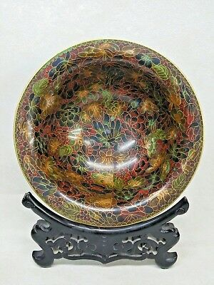 Vintage Chinese Cloisonne Enamel Bowl W/ Wood Stand