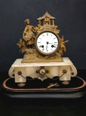 Antique French Gilt Brass & Onyx Table Clock Art Deco Brevet 2459