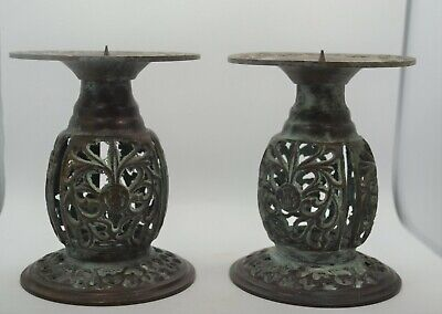 19th Century Ornate Brass Candle Holders With Verdigris