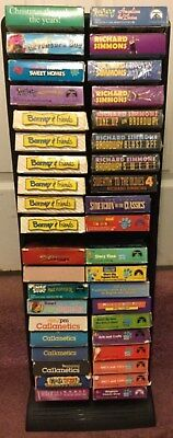 3 Alpha Plastic Storage Tower Holds 40 VHS Video 8 Track Cassette Tapes Games