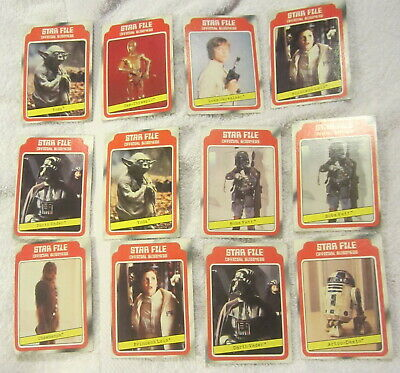 """Vintage 1980 Topps Empire Strikes Back """"STAR FILE"""" Cards Lot of 12,Star Wars"""