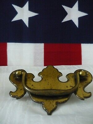"""Atq Distressed Brass Chippendale Hardware Drawer Pull Handle Serrated Edge 3"""" OC"""