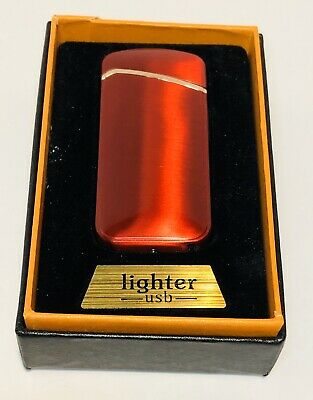 Dual Arc Electric Flameless Windproof USB Rechargeable Lighter - Red