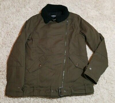 NWT $168 Mens XS Express Quilted Asymmetrical Zipper Moto Coat Jacket Sperpa