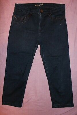 "J) Ladies bnwot Per-una crop blue straight zip cotton stretch jeans 10 W30""/L21"""