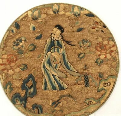 Fine antique Chinese Qing Dynasty figure silk embroidery high quality  panel