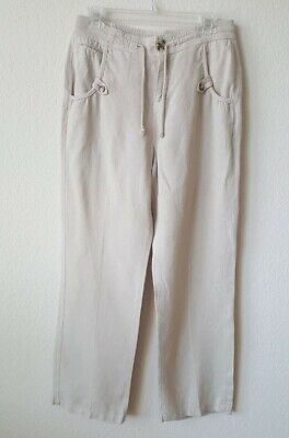 Soft Surroundings Small Linen HighRise Khaki Pant - Preowned Excellent Condition