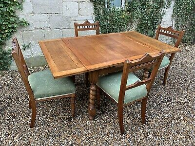 Antique oak Barley Twist Extending dining table & Chairs . Delivery Available