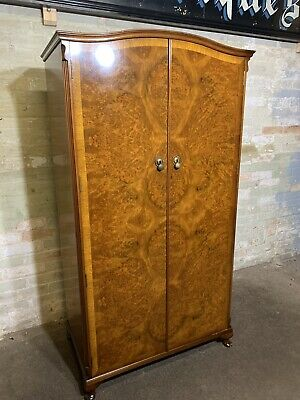 Vintage Burr Walnut Antique Gentlemans Fitted  Wardrobe . Delivery Available