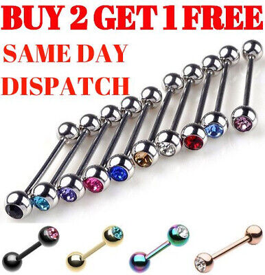 Tongue Bars Bar Surgical Steel Barbell Eyebrow Tragus Ear Nipple Piercing Gem