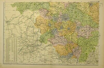 1902 Map Yorkshire South West ~ Wakefield Sheffield Huddersfield Leeds Bradford