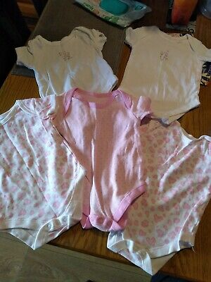 Baby Girls pink Short Sleeved Vests X5 From Matalan 3-6 Months Only One Worn