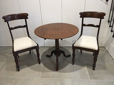Antique English Early Victorian/Georgian Tilt Top Table And Two Side Chairs