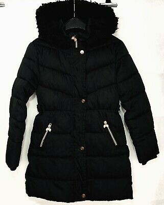 BARKER BY TED BAKER Coat Age 9 Years Black With Bow Design Girls Hooded Jacket
