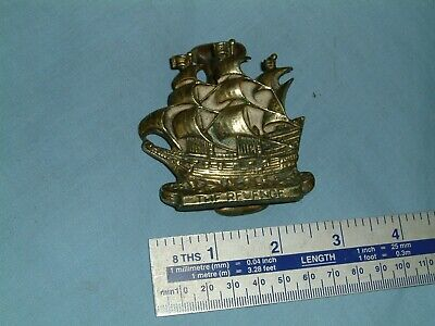 Small Vintage Antique CAST BRASS DOOR KNOCKER Sailing Ship THE REVENGE
