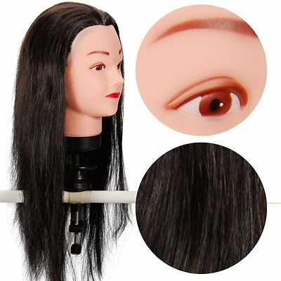 """Hairdressing 50% Real Hair Training Head Mannequin Doll 21"""" with clamp"""