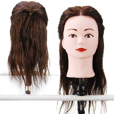 Hairdressing 80% Real Hair Training Head Mannequin Doll with clamp