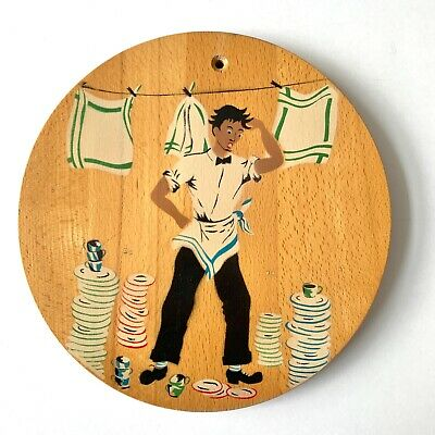 Vtg Nevco 60s Round Cutting Board Man Doing Stacks of Dishes MCM