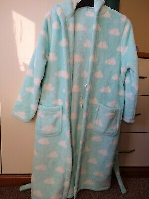 M&S Girls Hooded Cloud Themed Dressing Gown 9-10 Yrs