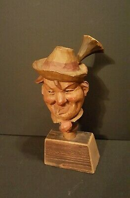 Vintage Germany Black Forest Hand Wood Carving Hugh Detail Bust on Stand 3pc