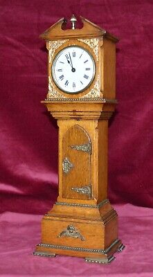 Antique Victorian Solid Oak & Gilt Brass Miniature Grandfather Smiths Clock