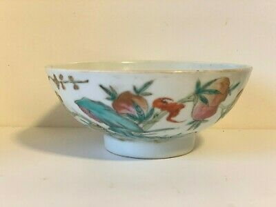 Antique Chinese Porcelain Painted Rice Bowl Signed