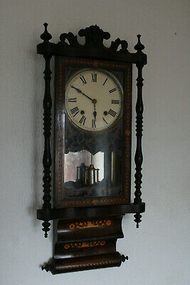 Antique American Inlaid Wall Clock