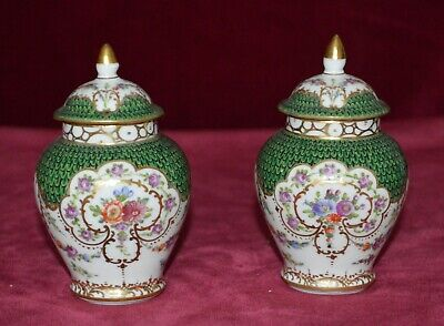 Antique Dresden Porcelain Hand Painted Small Lidded Urn Vases Pair of