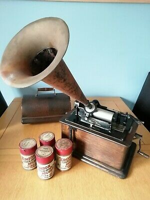 Antique Edison Standard Phonograph Model B Reproducer Circa 1905 + 4 Cylinders