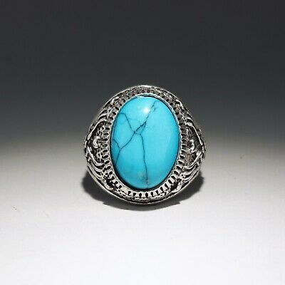Collect Old Miao Silver Armour Turquoise Hand-Carved Bloomy Flower Delicate Ring