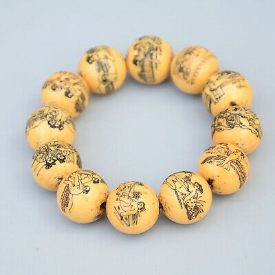 Collectable China Rare Old Resin Hand-Carve Spouse Life & Bloomy Flower Bracelet