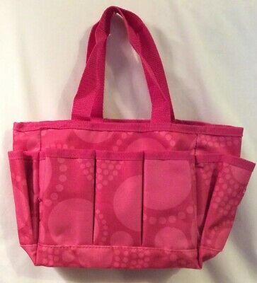 Thirty-One 31 Mini Organizer Pink Circle Spirals, Pencil Pouch, Tag New