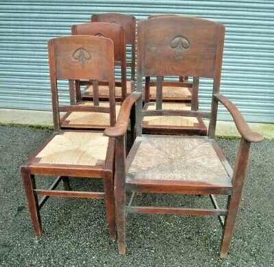 Set of 6 Arts and Crafts Oak Dining Chairs, By W J Neatby for restoration