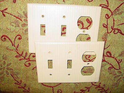 2 Vintage Ivory Bakelite Wall Toggle Light Switch Outlet Combo Plate Covers USA