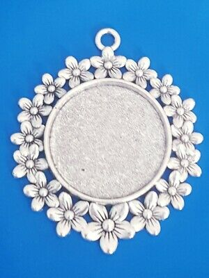 4 Flower Blank Cabochons Pendant Settings 25Mm Tray Antique Silver Base Bezel .