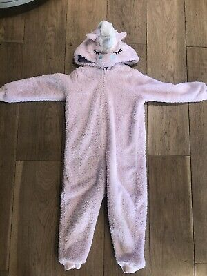 M&S Pink Sparkle Unicorn Fluffy Fleece All In One 1Onesie Age 3-4 Years