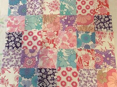 30 pink blue purple squares for sewing, quilting, genuine vintage retro sheets