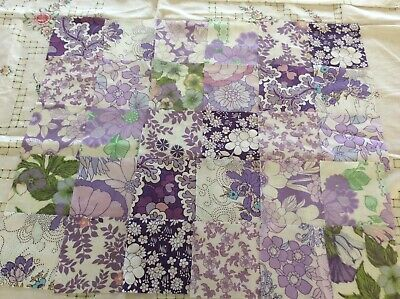 30 purple patchwork squares for sewing, quilting, genuine vintage retro sheets
