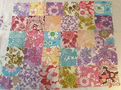30 Mixed multi squares for sewing, quilting, genuine vintage retro sheets