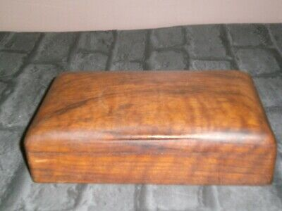 Large Vintage Solid Wooden Box Two Compartments Carved Handle