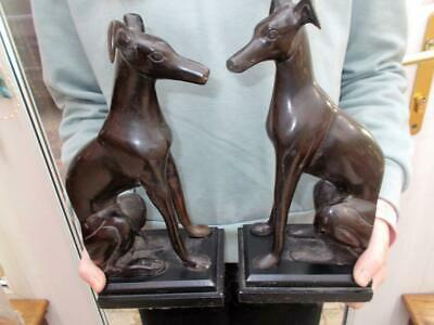 Pair Vintage Bronze Italian Greyhound Dog Bookends Metal Bases Good Condition