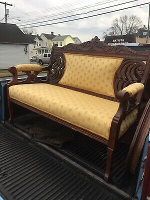 Antique Carved Walnut Upholstered Love Seat Settee Bench