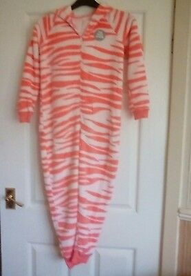 M&S GIRLS ALL IN ONE PYJAMAS AGE 9-10 pink mix with zebra fun design  BNWT *
