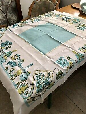 """Lovely Vtg 50S Turquoise Fine Linen Spices Graphic Tablecloth 48X50"""" Perfect"""