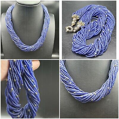 Rare Unique Blue Aged Afghan Glass Beads Necklace #A112
