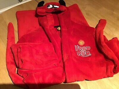 Manchester United Official boys robe/ dressing gown with hood. Ages 10-12.