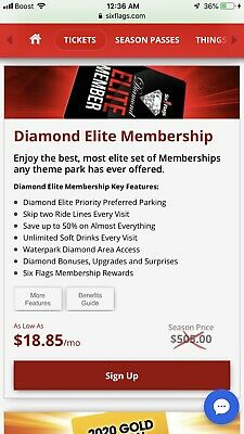 (4) 2020 Diamond Elite Season Passes Six Flags Magic Mountain