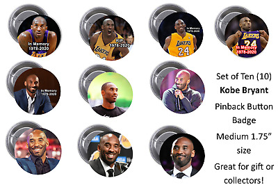 "Kobe Bryant - SET OF 10  PINS - MEDIUM 1.75"" PINBACK (collecting or giving)"