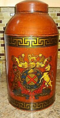 Antique Vintage Tole Painted Tea Canister Tin Toleware. burgundy Coat of arms